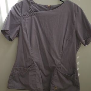 Gray Jaanuu Asymmetric Scrub Top